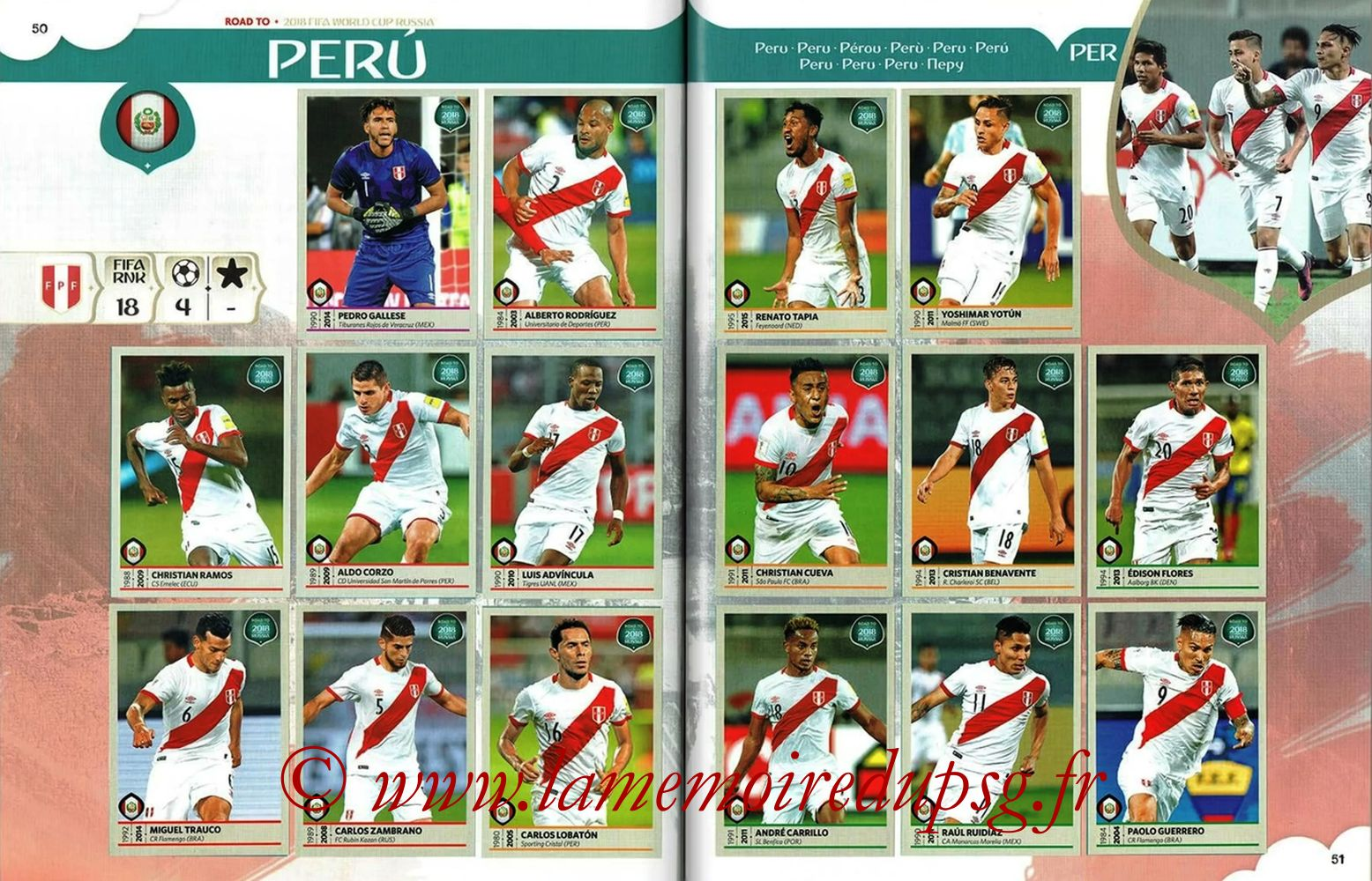2018 - Panini Road to FIFA World Cup Russia Stickers - Pages 50 et 51 - Pérou