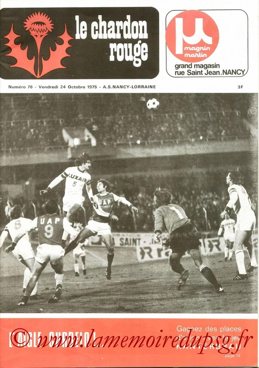 1975-10-25  Nimes-PSG (11ème D1, Le chardon rouge N°76)