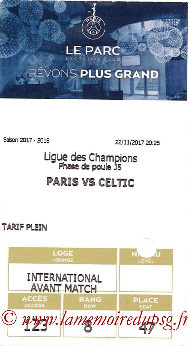 2017-11-22  PSG-Celtic (5ème C1, E-ticket Executive club)