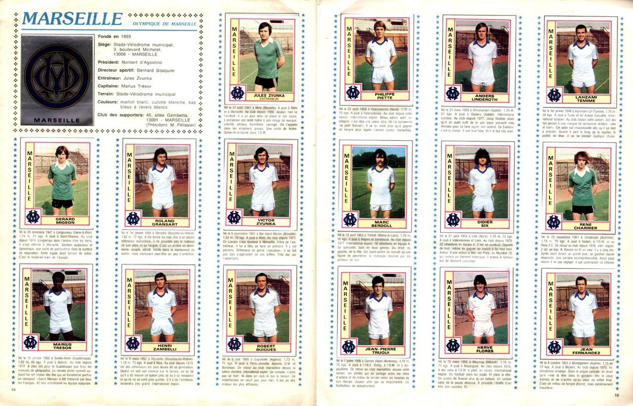 1979-80 - Panini 1980 - Pages 18 et 19 - Olympique de Marseille