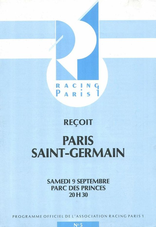 1989-09-09  Racing Paris 1-PSG (9ème D1, Programme officiel N°5)