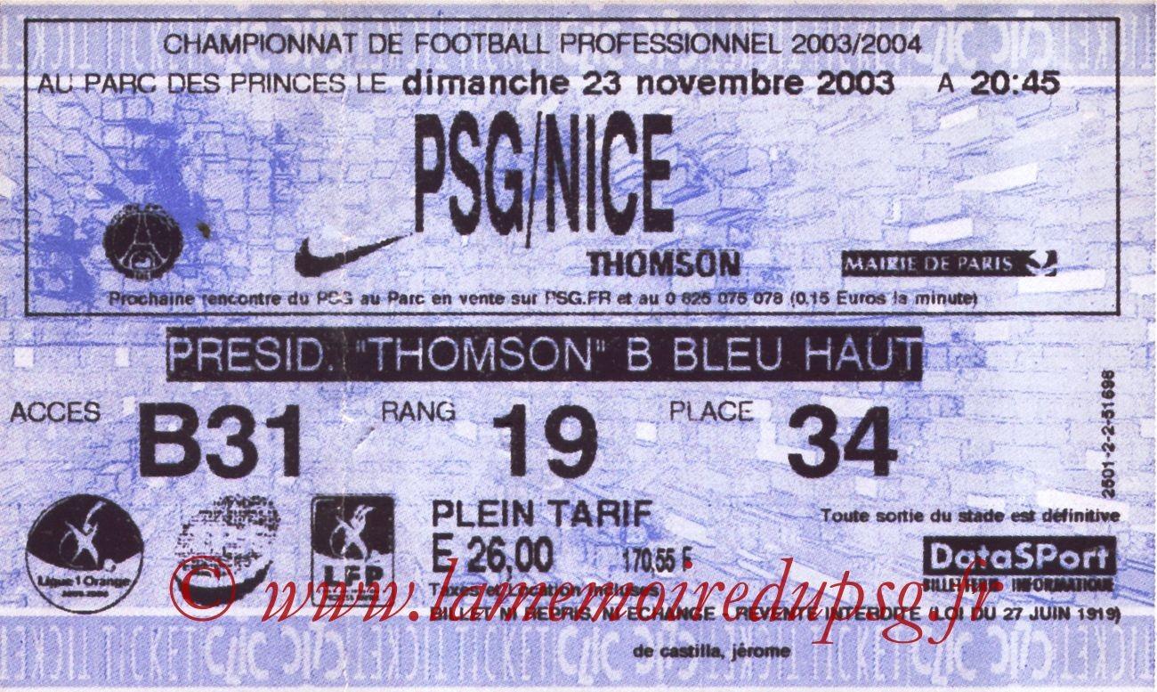2003-11-23   PSG-Nice (14ème L1, Ticketnet)
