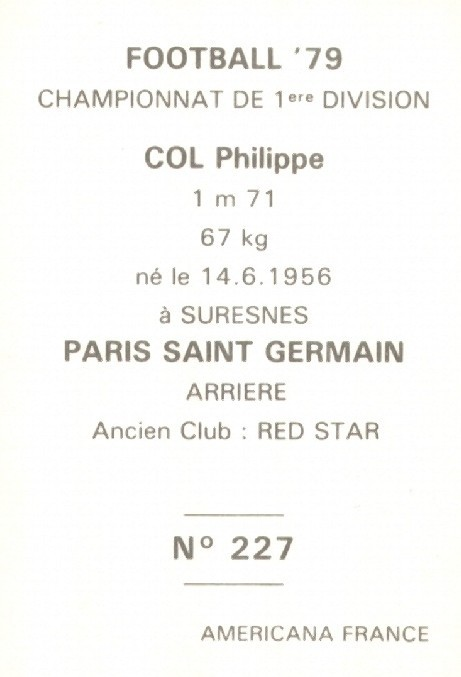 N° 227 - Philippe COL (Verso)