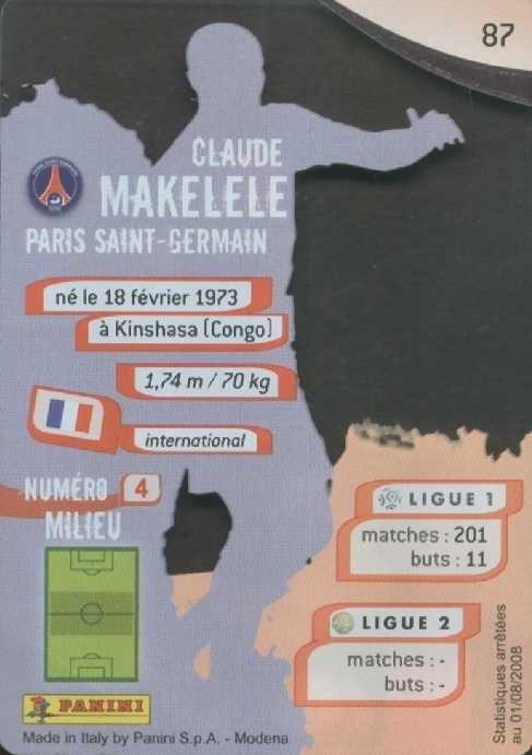 N° 087 - Claude MAKELELE (Verso)