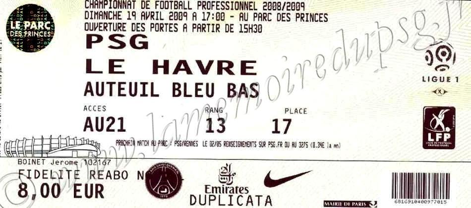 2009-04-19  PSG-Le Havre (32ème L1)