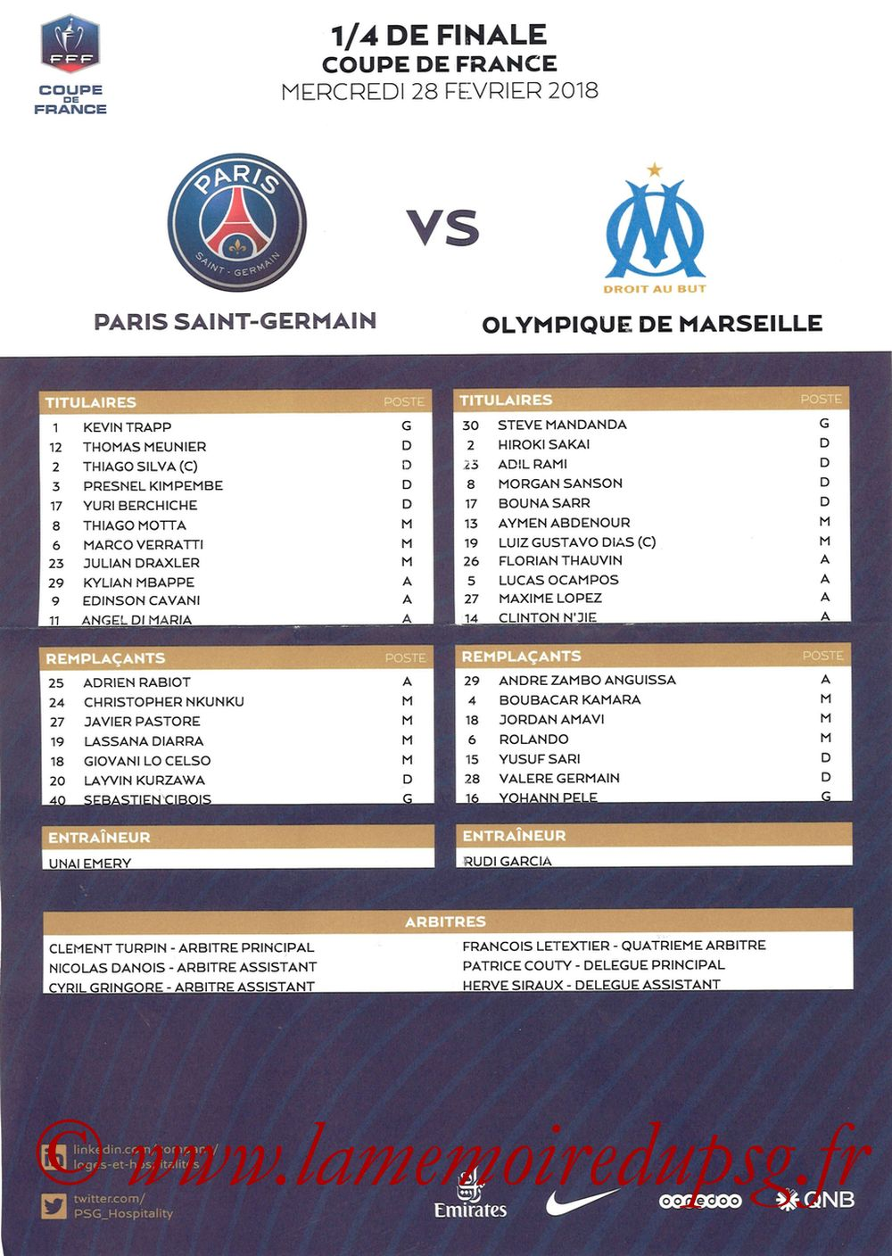 2018-02-28  PSG-Marseille (Quart CF, Feuille de match)