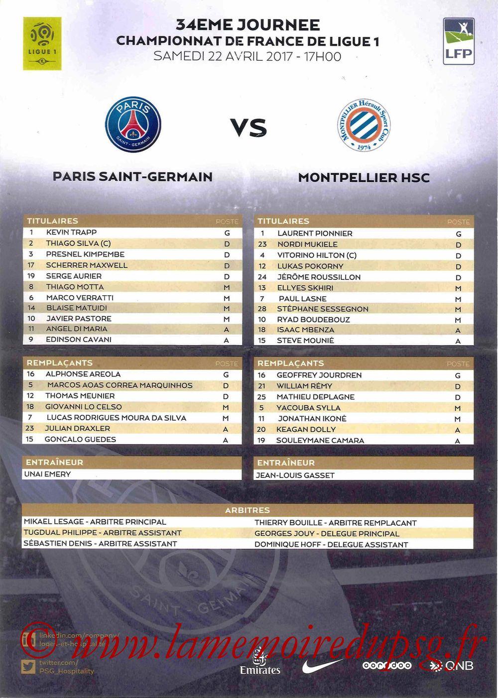 2017-04-22  PSG-Montpellier (34ème L1, Feuille de match)