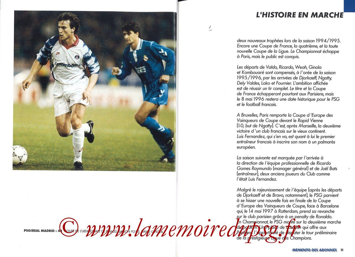 1999-00 - Guide de la Saison PSG - Pages 10 et 11
