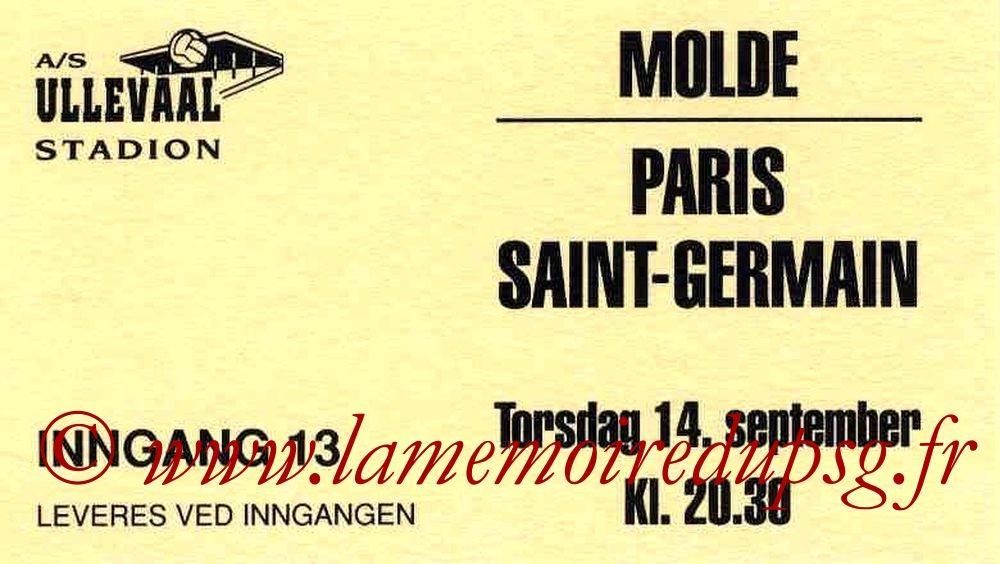1995-09-14  Molde-PSG (16ème Finale Aller C2, Collection MP)