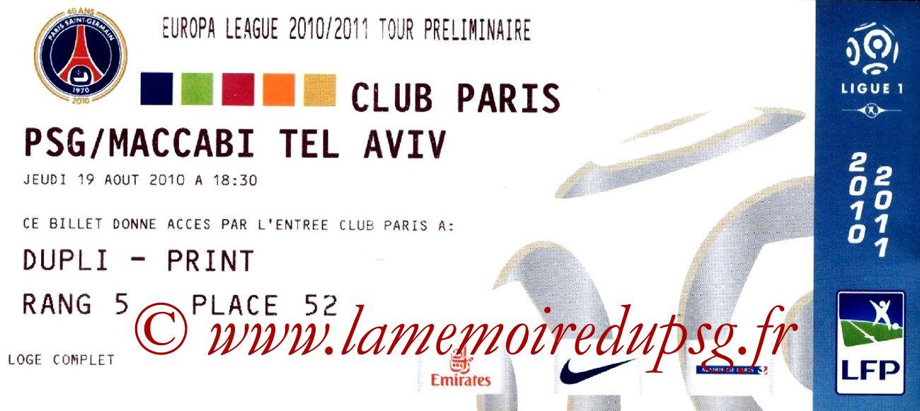 2010-08-19  PSG-Maccabi Tel-Aviv (Tour préliminaire Aller C3, Club Paris)
