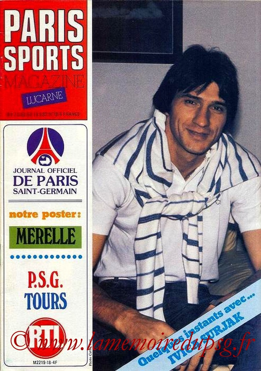 1982-05-07  PSG-Tours (38ème D1, Paris Sports Magazine N°18)