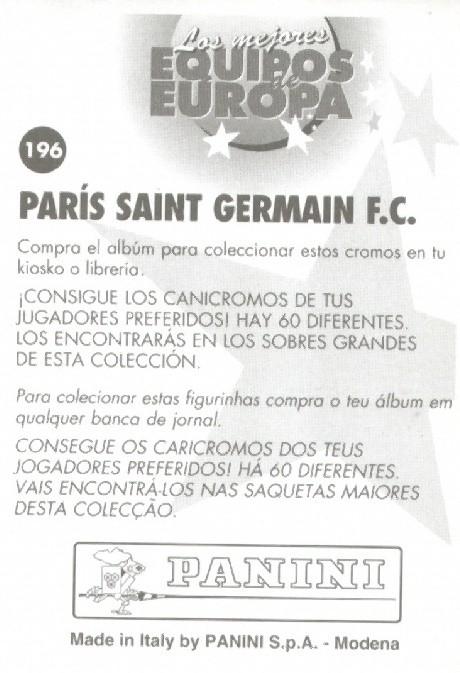 N° 196 - Ecusson PSG (Verso)