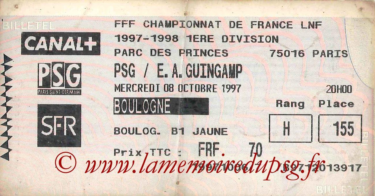 1997-10-08  PSG-Guingamp (11ème D1, Billetel)