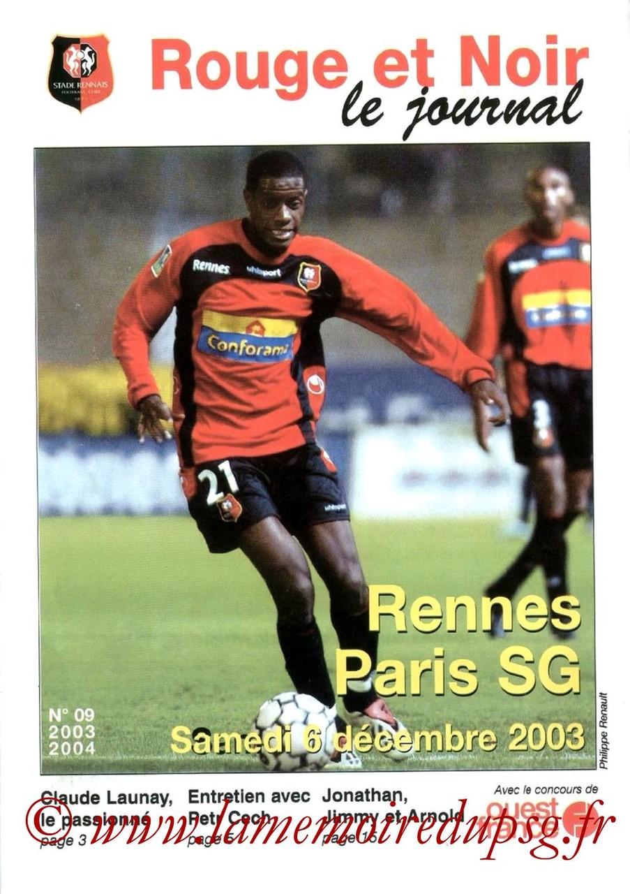 2003-12-06  Rennes-PSG (17ème L1, Rouge et Noir N°9)