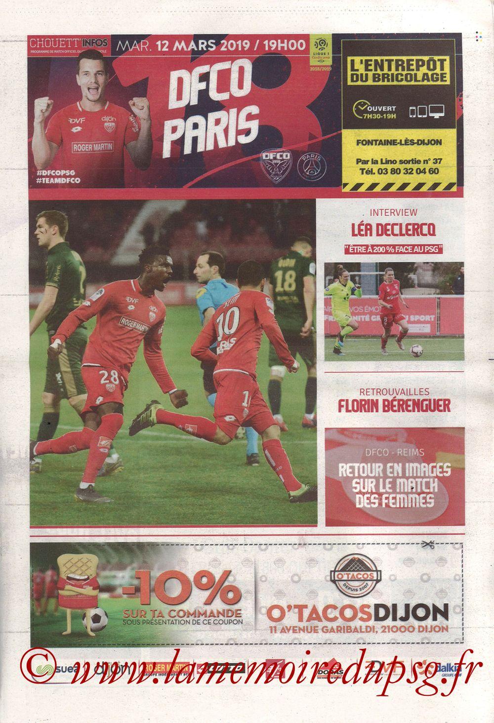 2019-03-12  Dijon-PSG (18ème L1 en retard, Chouett'Infos)