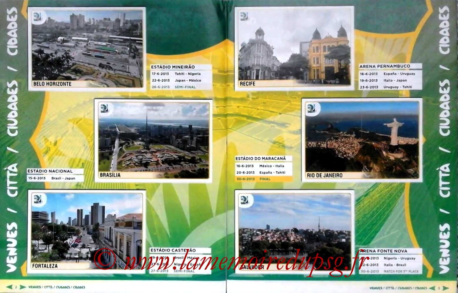 2013 - Panini Confederations Cup Brasil Stickers - Pages 02 et 03 - Villes