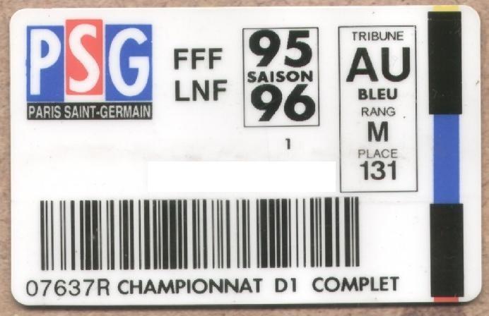 Carte d'abonné PSG 1995-96