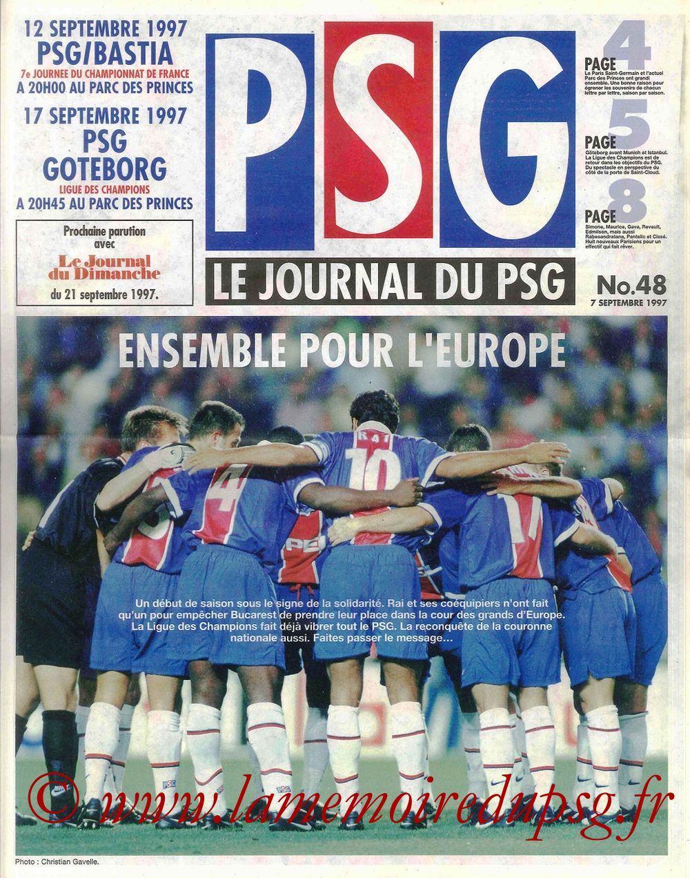 1997-09-17  PSG-Goteborg (1ère C1, Le Journal du PSG N°48)