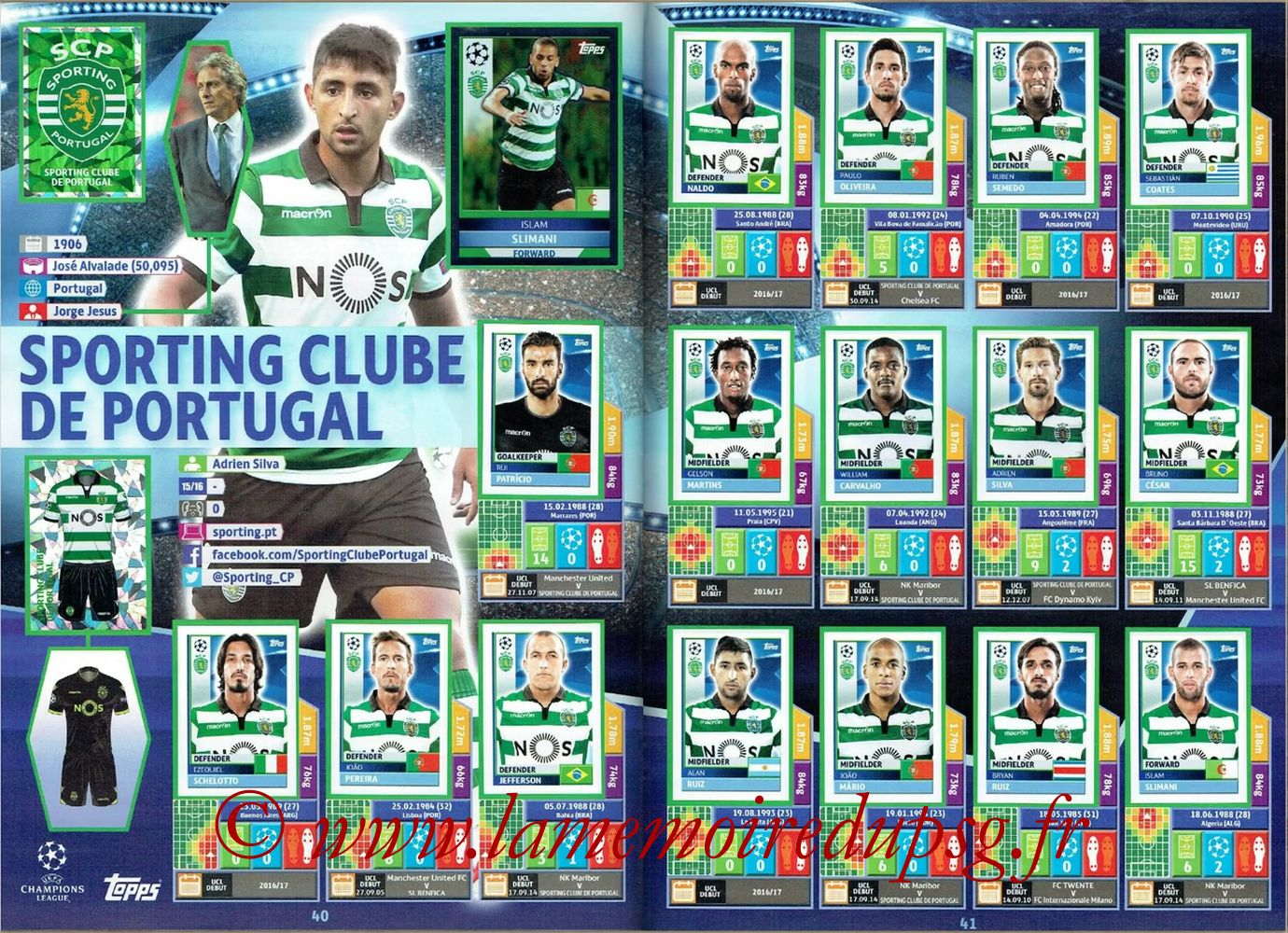 2016-17 - Topps UEFA Champions League Stickers - Pages 40 et 41 - Sporting Club de Portugal