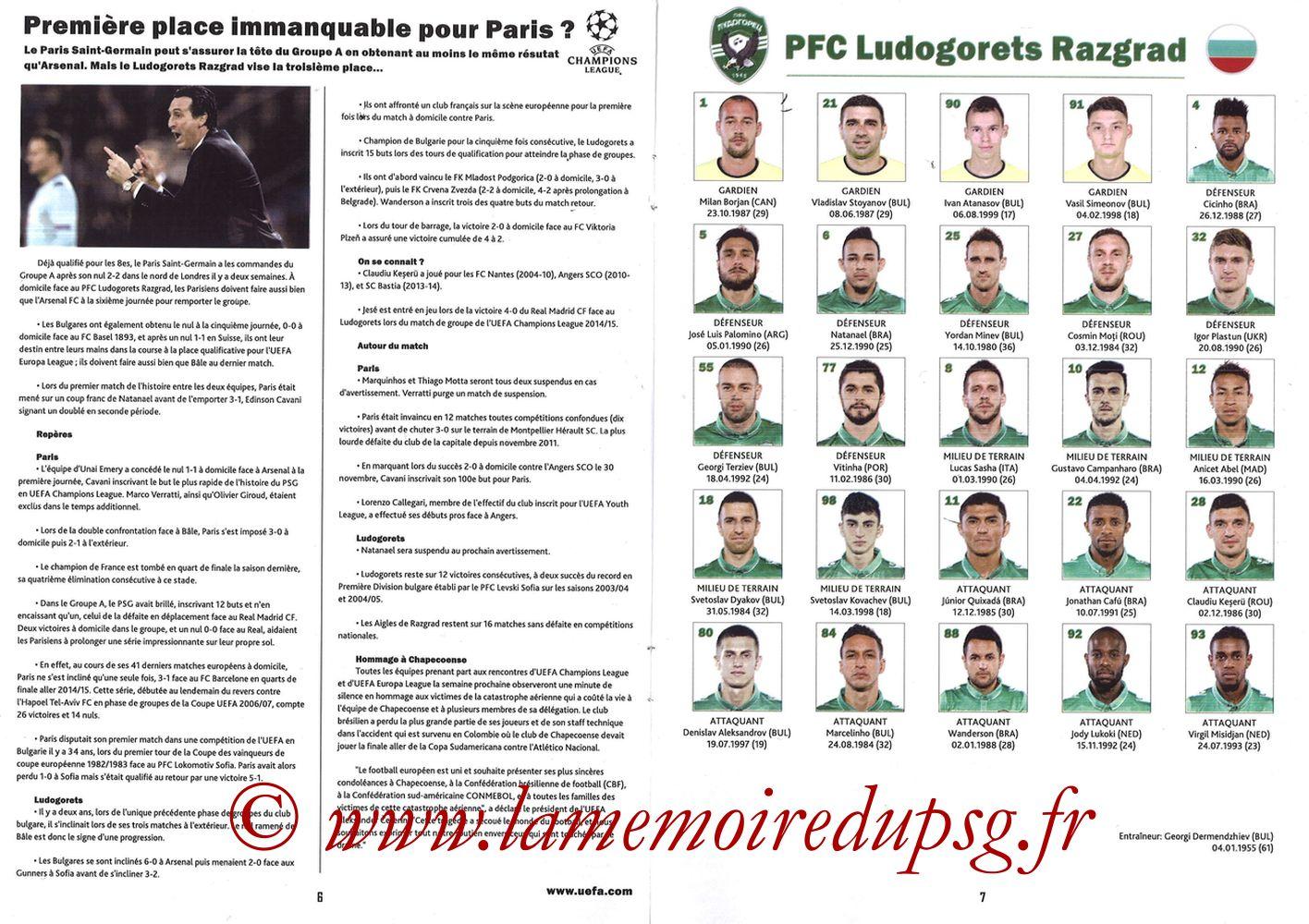 2016-12-06  PSG-Ludogorets (6ème Poule C1, Programme pirate) - Pages 06 et 07