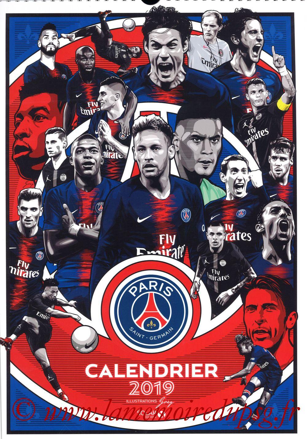 Calendrier PSG 2019 - Couverture