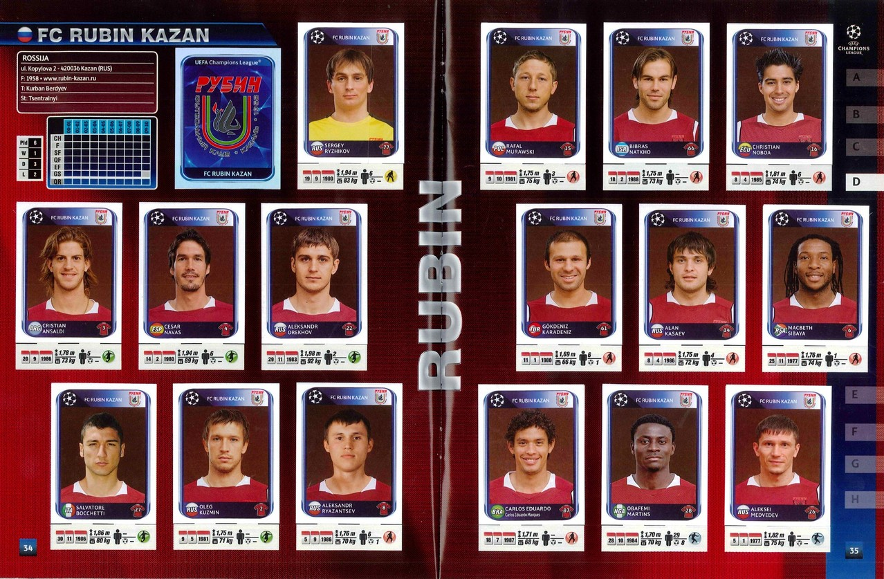 2010-11 - Panini Champions League - Pages 34 et 35 - FC Rubin Kazan
