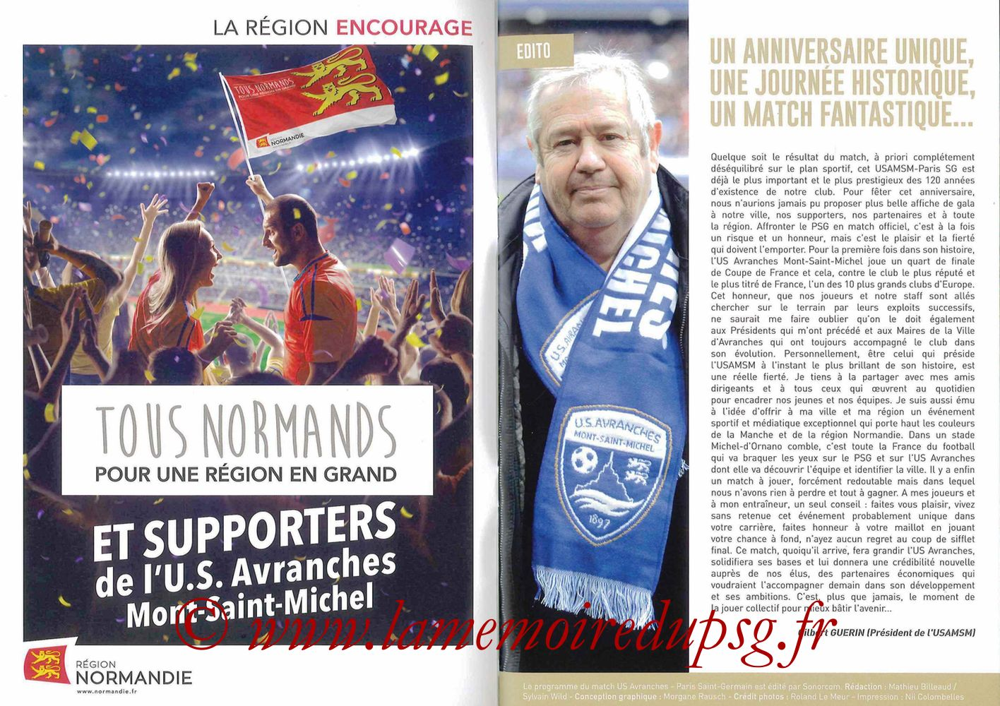 2017-04-05  Avranches-PSG (Quart CF à Caen, Programme officiel) - Pages 02 et 03
