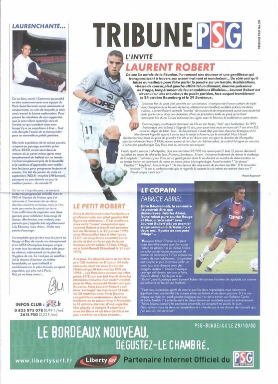 2000-10-29  PSG-Bordeaux (13ème D1, Tribune PSG N°20)