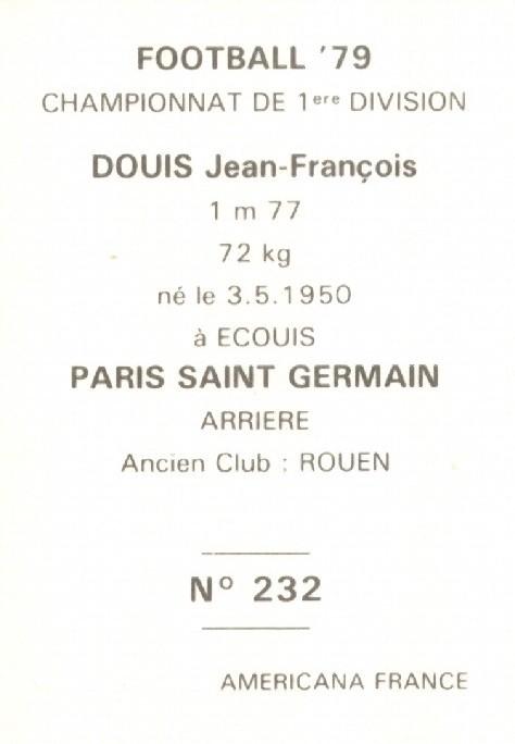 N° 232 -Jean-François DOUIS (Verso)