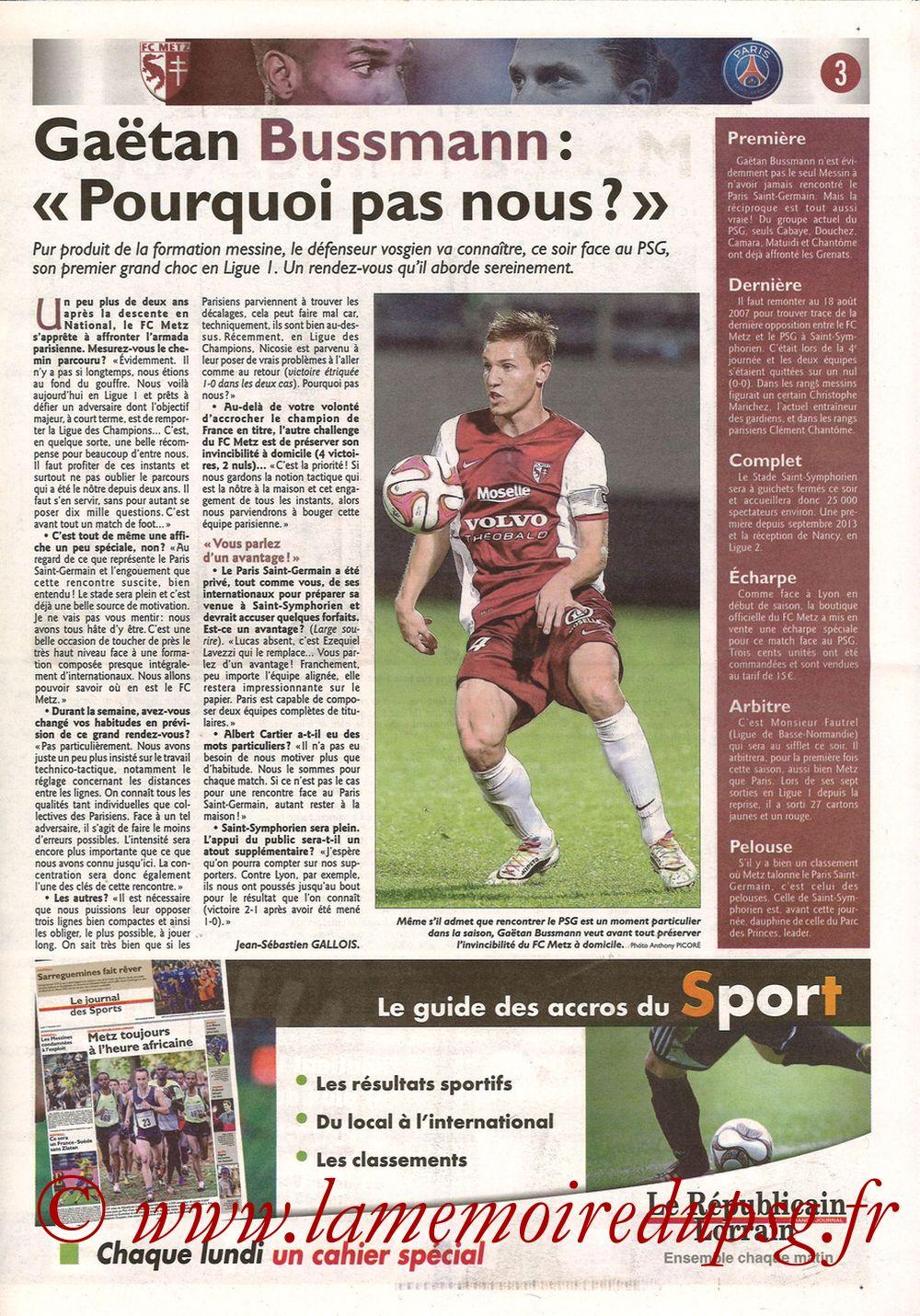 2014-11-21  Metz-PSG (16ème L1, Le Républicain Lorrain) - Page 03