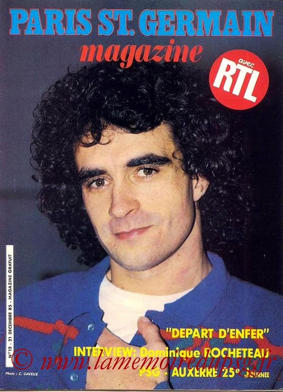 1985-12-22  PSG-Auxerre (25ème D1, Paris St Germain Magazine N°12)