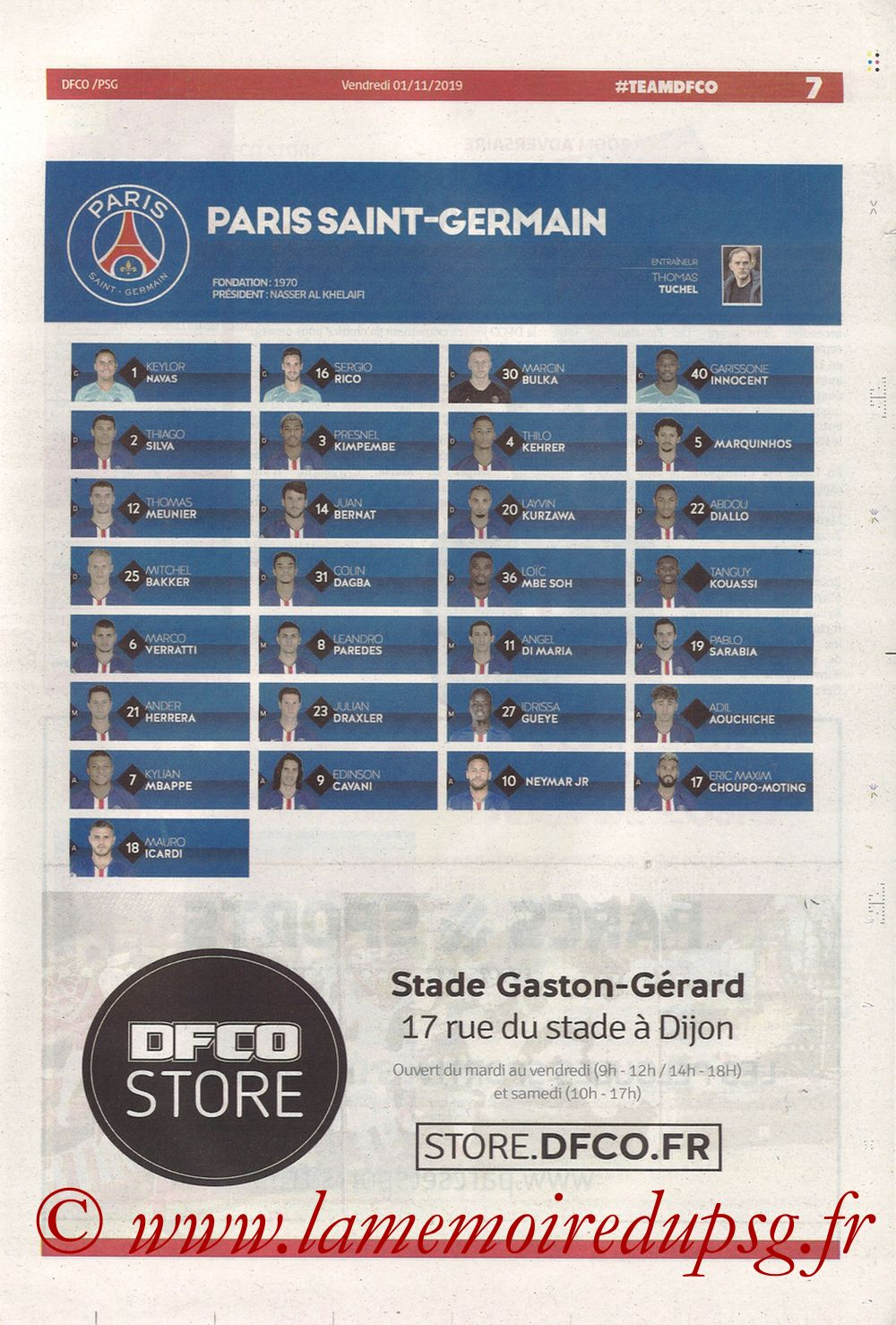 2019-11-01  Dijon-PSG (12ème L1, Chouett Infos) - Page 07