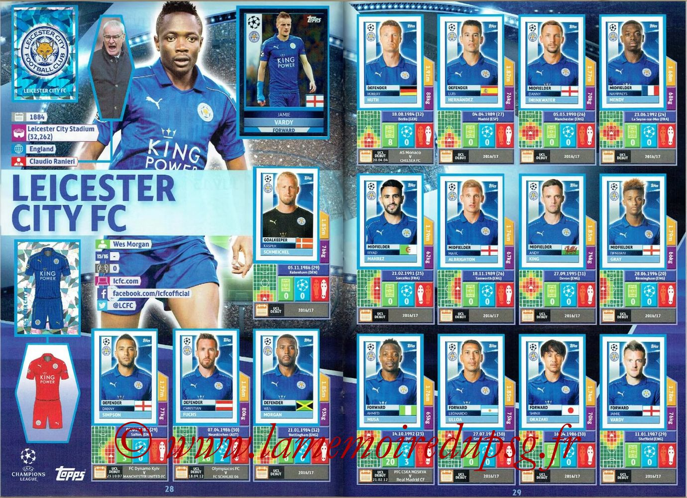 2016-17 - Topps UEFA Champions League Stickers - Pages 28 et 29 - Leicester City FC