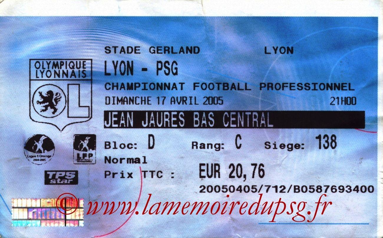 2005-04-17  Lyon-PSG (33ème L1, Billetel)