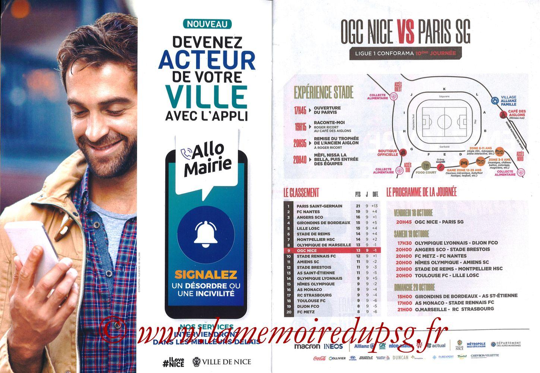 2019-10-18  Nice-PSG (10ème L1, OGCNice Mag N° 333) - Pages 02 et 03