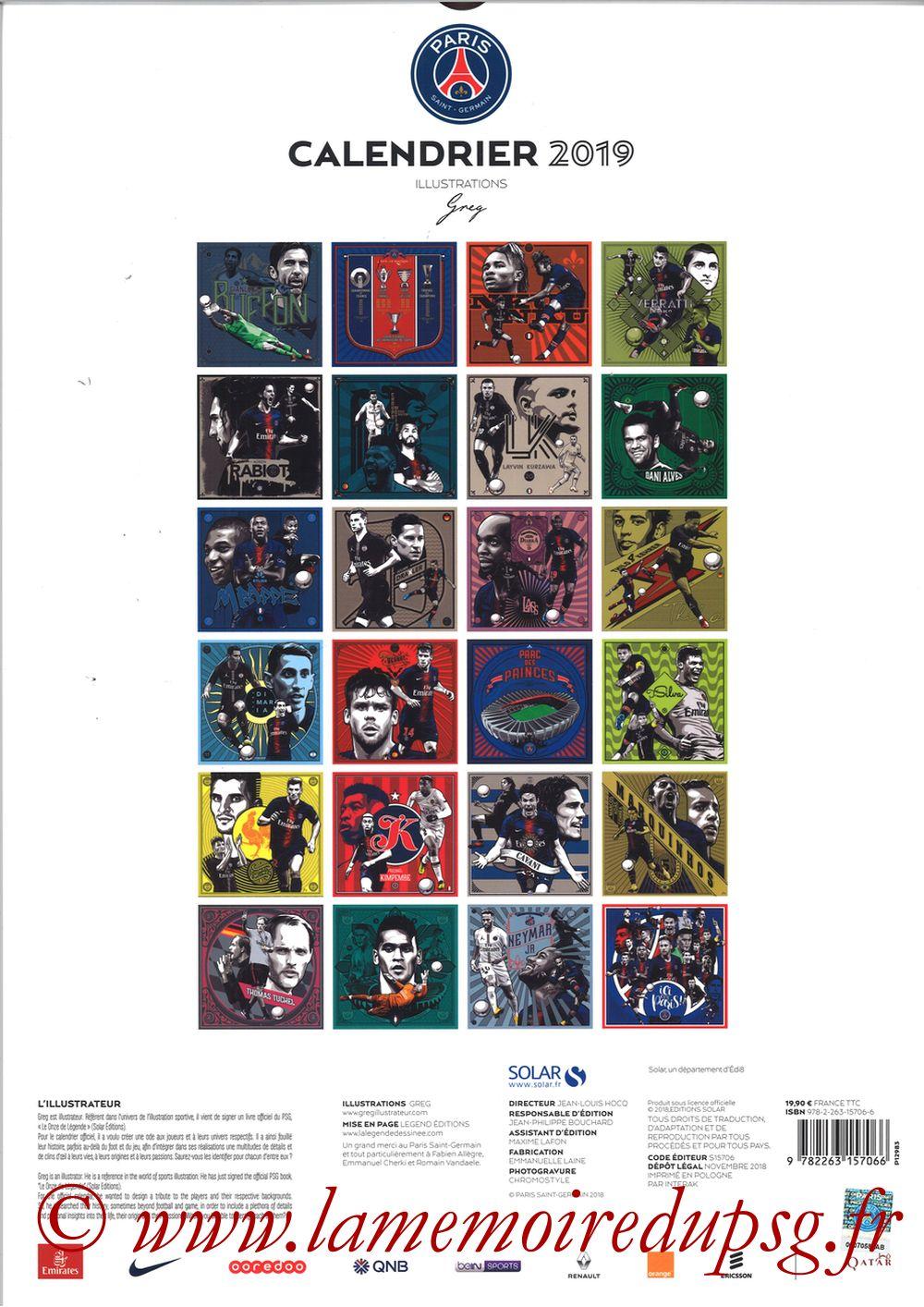 Calendrier PSG 2019 - Page 25 - Dos Album