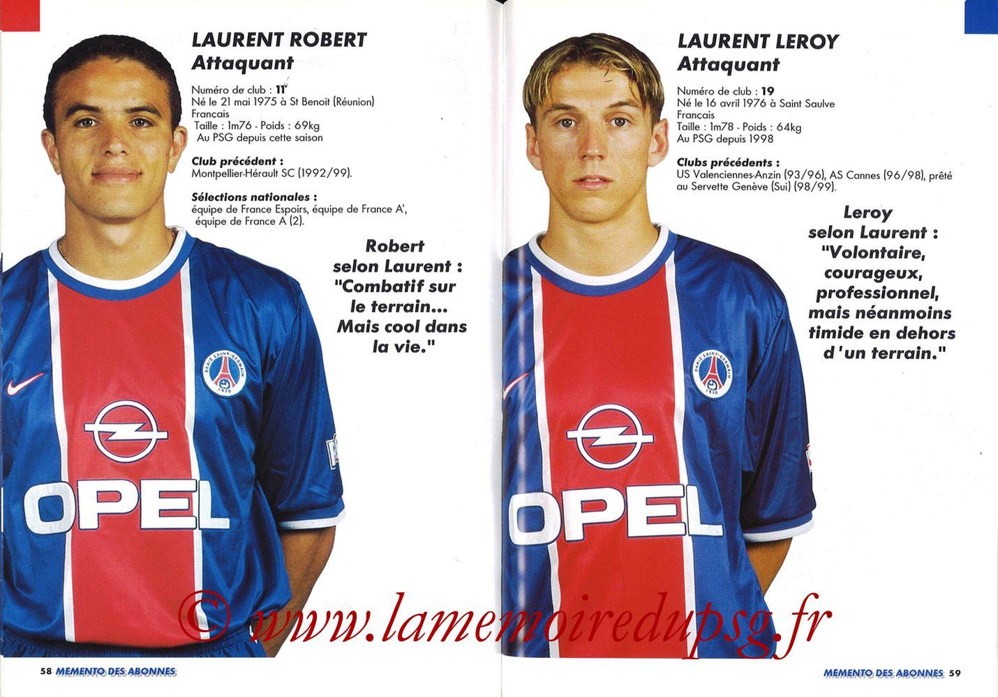 1999-00 - Guide de la Saison PSG - Pages 58 et 59