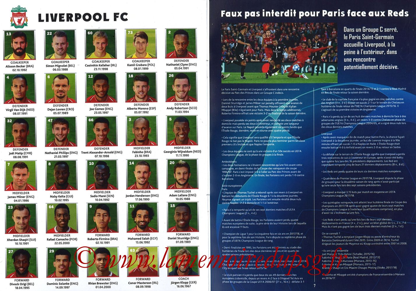2018-11-28  PSG-Liverpool (5ème Poule C1, Programme pirate) - Pages 06 et 07