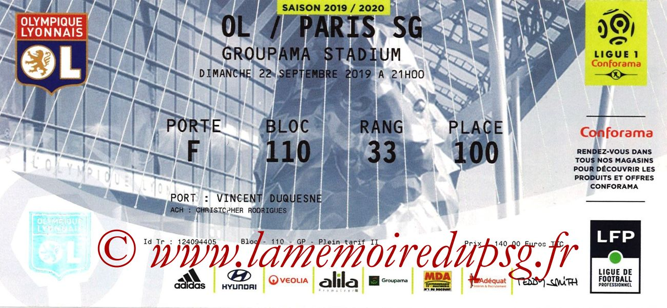 2019-09-22  Lyon-PSG (6ème L1)