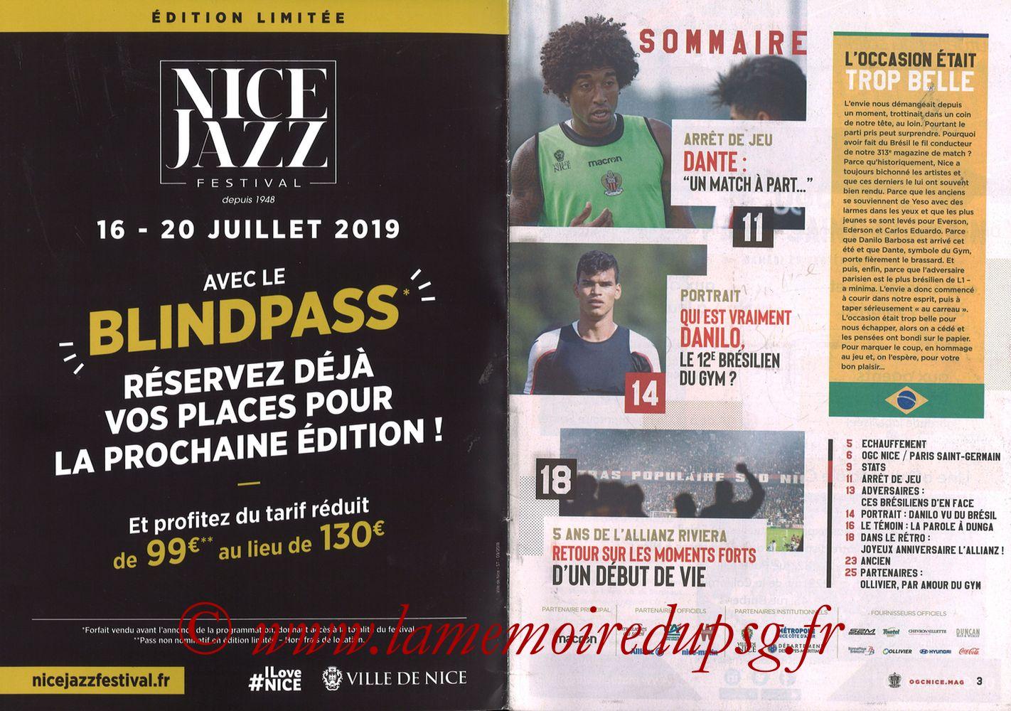 2018-09-29  Nice-PSG (8ème L1, Ogcnice.Mag N°313) - Pages 02 et 03