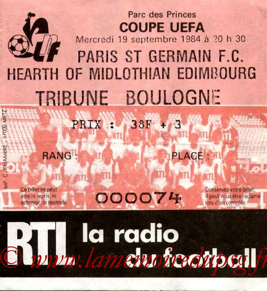 1984-09-19  PSG-Hearth of Midlothian (32ème Aller C3)