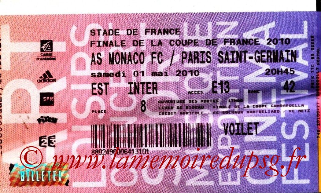 2010-05-01  PSG-Monaco (Finale CF à Saint-Denis, Billetel)