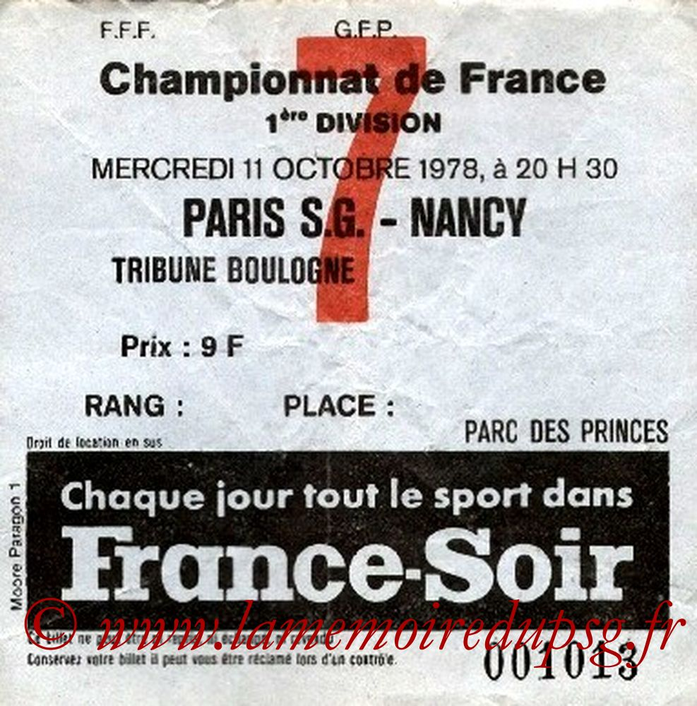 1978-10-11  PSG-Nancy (14ème D1, Ticket N°7)