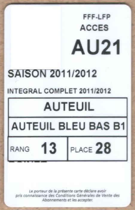 Carte d'abonné PSG 2011-12