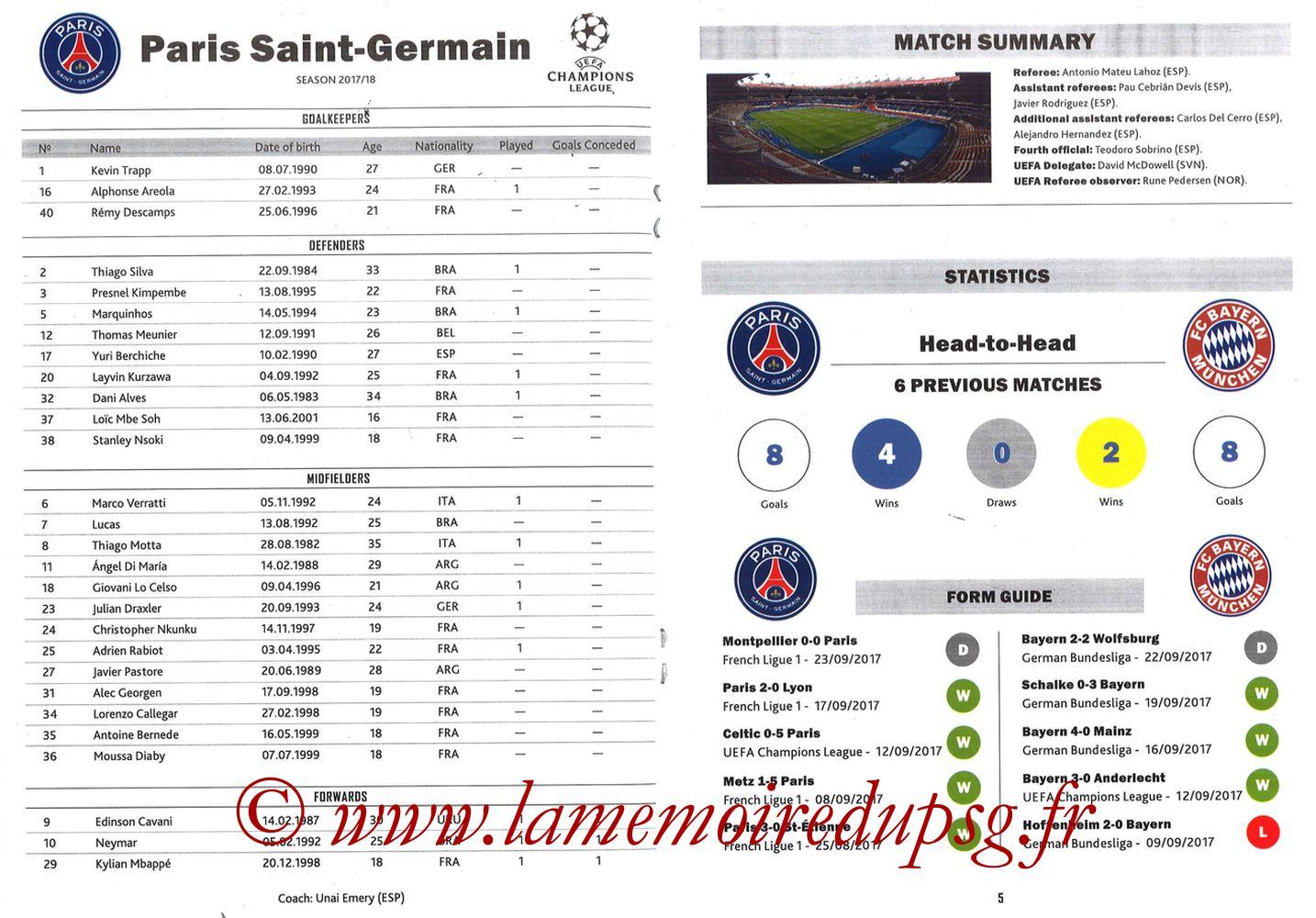 2017-09-27  PSG-Bayern Munich (2ème Poule C1, Programme pirate) - Pages 04 et 05