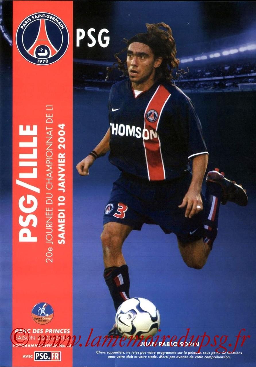 2004-01-10  PSG-Lille (20ème L1, Programme officiel N°43)