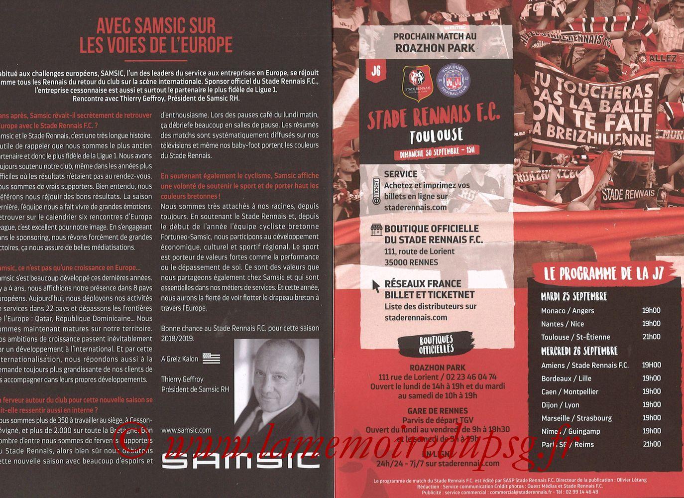 2018-09-23  Rennes-PSG (6ème L1, Programme officiel) - Pages 14 et 15