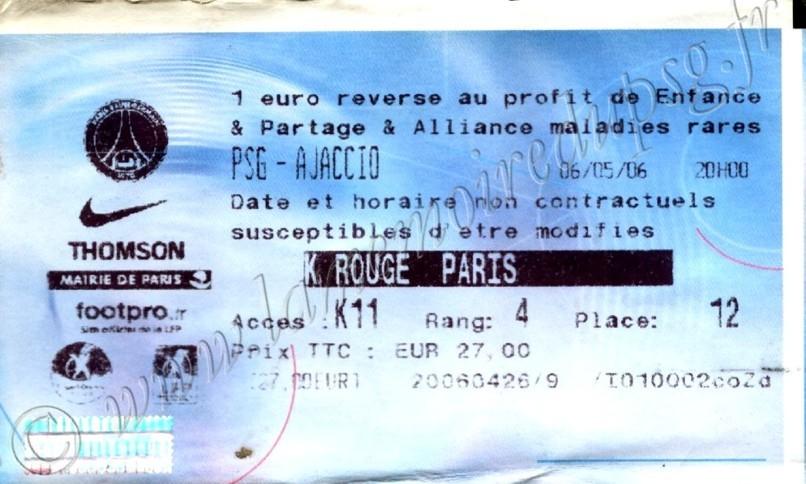2006-05-06  PSG-Ajaccio (37ème L1, Billetel)