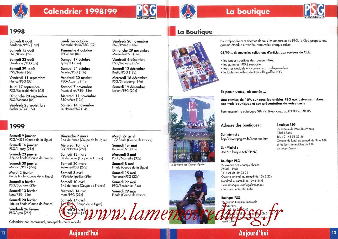 1998-99 - Guide de la Saison PSG - Pages 12 et 13