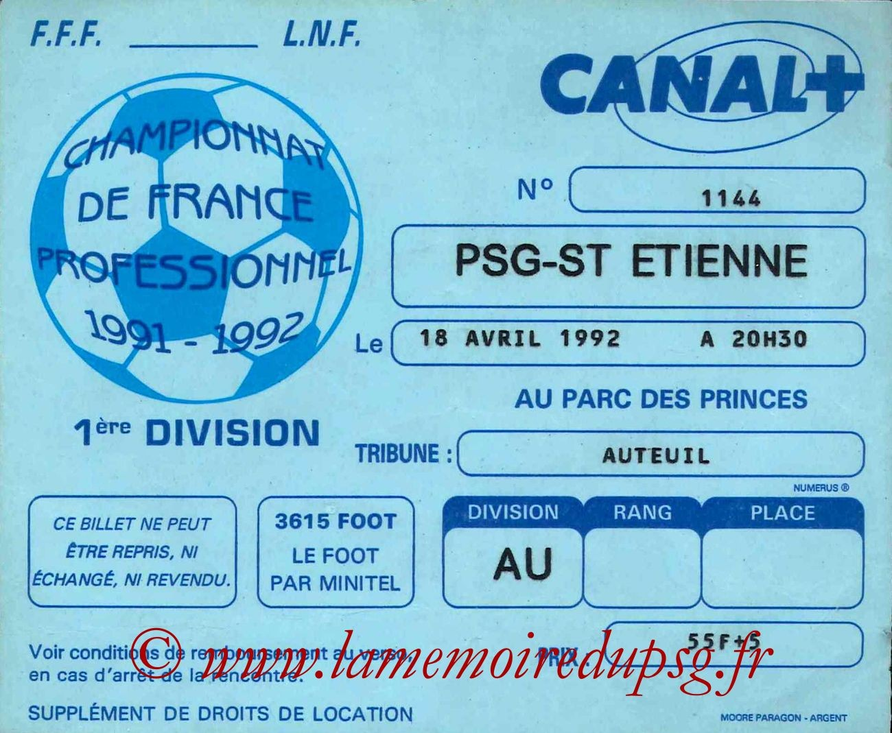 1992-04-18  PSG-Saint Etienne (36ème D1)